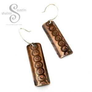 One-Off Embossed Copper Earrings | 4.7 cm Long