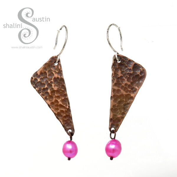 Textured Copper Earrings with Freshwater Pearls   Hot Pink