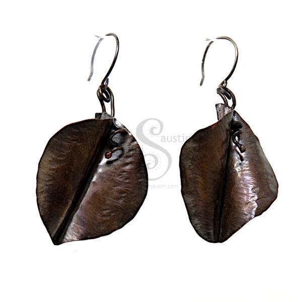 Fold-Form Copper Leaf Earrings - 6 cm Long