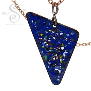Blue Enamelled Copper Triangle Pendant