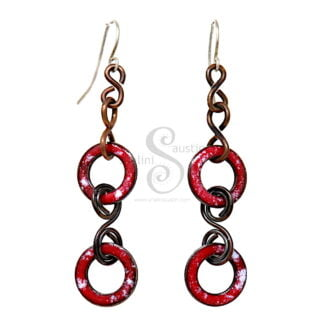 Red and White Enamelled Copper Circles Earrings