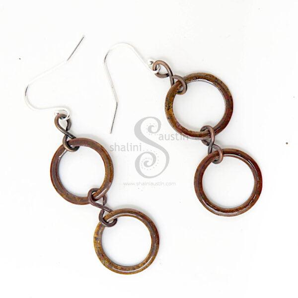 Copper Bronze Enamelled Circle Earrings