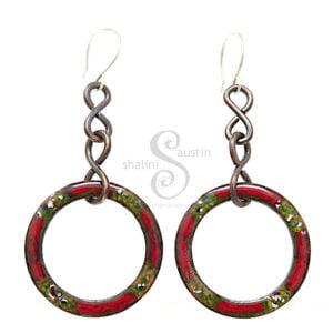 Colourful Enamelled Copper Earrings   Red & Green