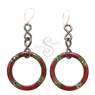 Colourful Enamelled Copper Earrings | Red & Green