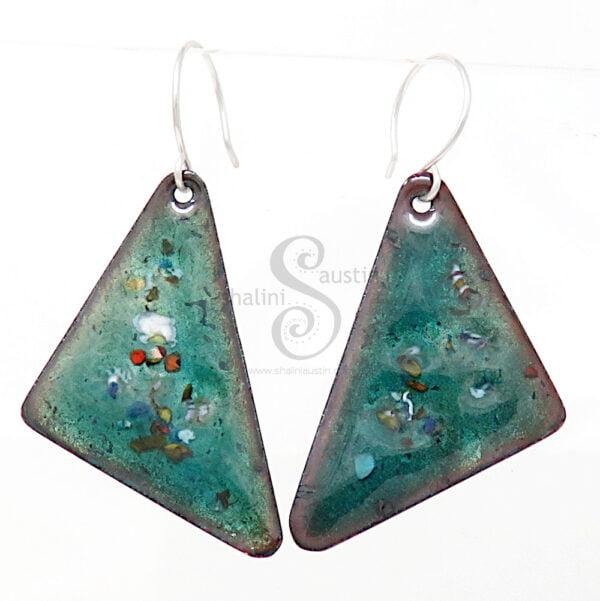 Enamelled Copper Triangle Earrings