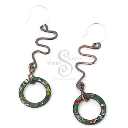 Marbled Enamel Forest Green Copper Earrings 02