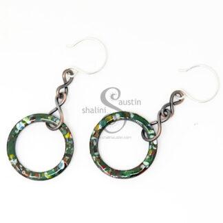 Marbled Enamel Forest Green Copper Earrings 01