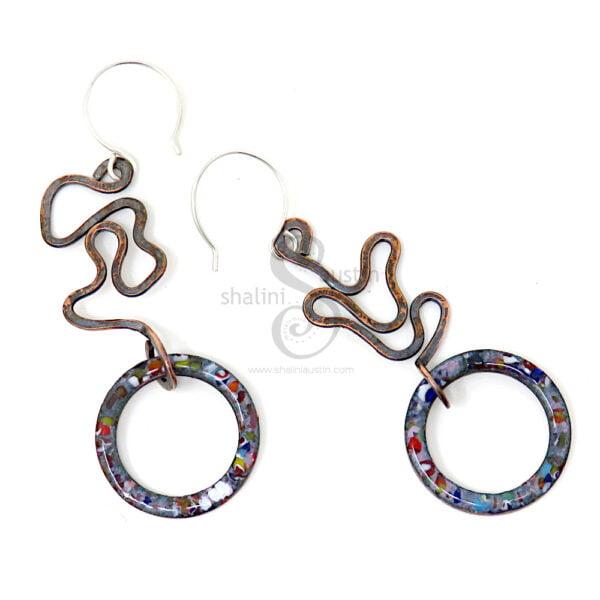 Marbled Enamel Dark Grey Copper Earrings 01