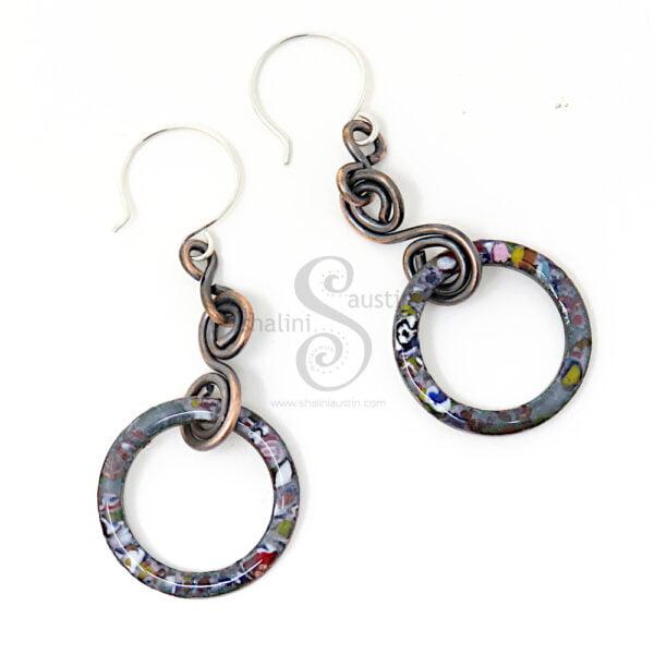 Marbled Enamel Dark Grey Copper Earrings 02