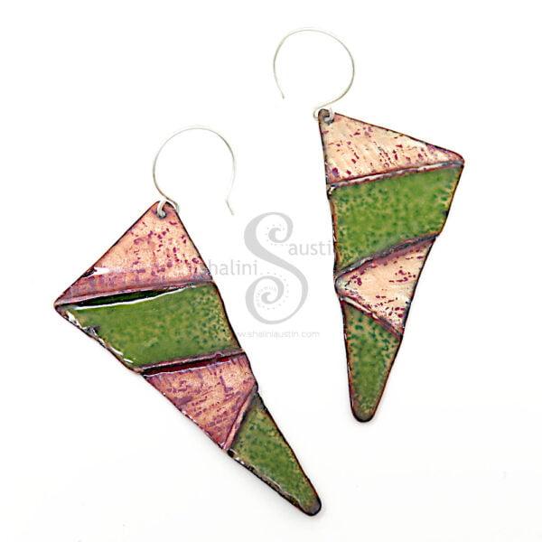 Fold-Formed Copper Earrings Enamelled Green