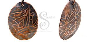 Detail: Elegant Etched Copper Earrings LEAVES