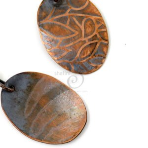 Back detail: Antique Finish Etched Copper Earrings LEAVES 01