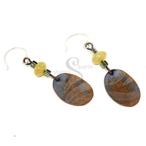 Antique Finish Etched Copper Earrings LEAVES 02