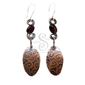 Double Sided Garnet and Copper Earrings LACE