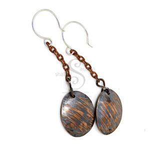 Antique Finish Etched Copper Earrings SCRATCHED