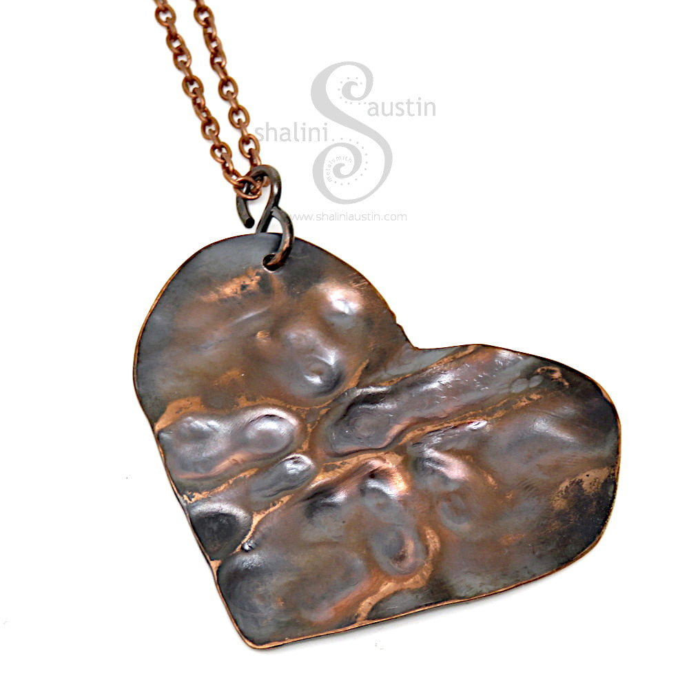 One-Off Textured Copper Heart Pendant