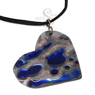 LAGOON | Blue Enamelled Heart Pendant
