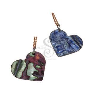 Enamelled Heart Pendant 06 | Reversible | Blue-Green