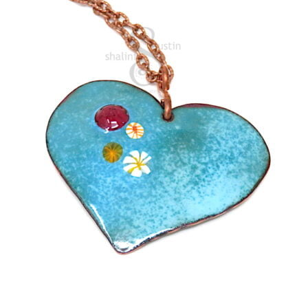 HEARTS and FLOWERS 02   Colourful Copper Heart Pendant