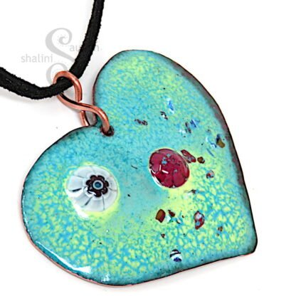 HEARTS and FLOWERS 03   Colourful Copper Heart Pendant