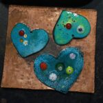 Millefiore & Copper Pendant HEARTS and FLOWERS 02