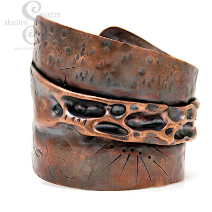Gorgeous Upcycled Copper Cuff LUNAR 10