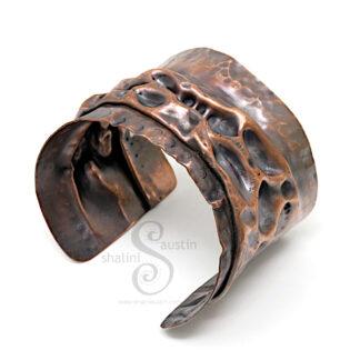 Large Unisex Salvaged Copper Cuff LUNAR 12