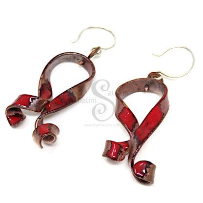 RED RIBBONS Enamelled Copper Earrings 02
