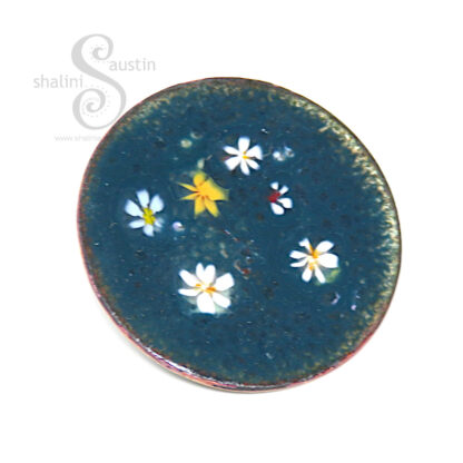 LILY POND 08   Enamelled Copper Circle Brooch