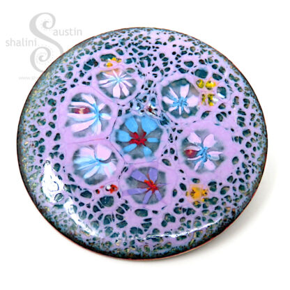 PRETTY IN PINK   Enamelled Copper Circle Brooch
