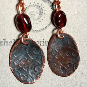 Antique Finish Etched Copper Earrings FLORAL 02