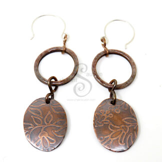 Antique Finish Etched Copper Earrings LEAVES 04